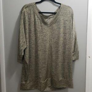 Lane Bryant Grey/Gold Reglan Sleeve Shirt 18/20